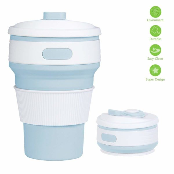 Collapsible Silicone Coffee Cup with Lid